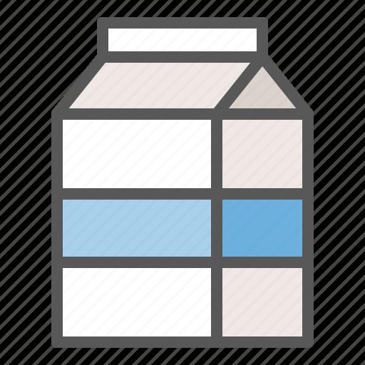 Milk box, beverage, milk, drinks icon