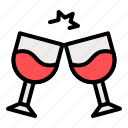 alcoholic, beverage, drink, glasses, wine icon