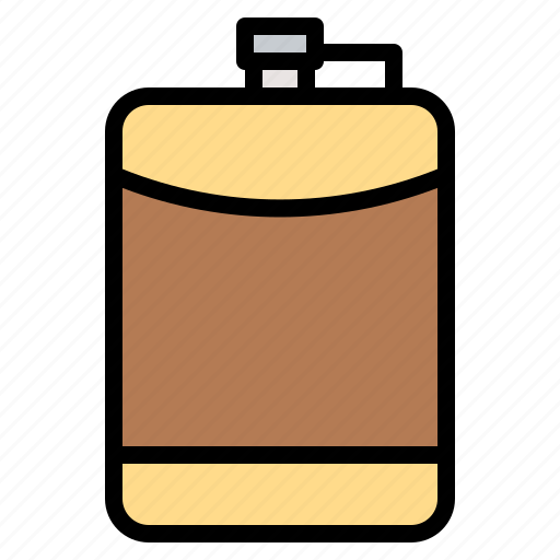 alcohol, beverage, flask, hip, travel icon