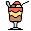 ice, layer, glass, float, dessert, cream icon