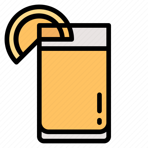 beverage, glass, juice, orange, piece icon