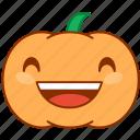emoticon, emotion, grin, laugh, pumpkin, smile, sticker