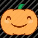 emoticon, emotion, happy, laugh, pumpkin, smile, sticker