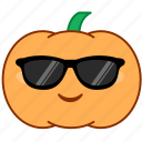 cool, emoticon, emotion, pumpkin, smile, sticker, sunglasses