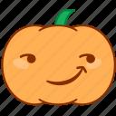 emoticon, emotion, happy, pumpkin, smile, smirk, sticker