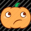 doubt, emoticon, emotion, pumpkin, sticker, thinking, uncertain
