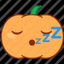 emoticon, emotion, goodnight, pumpkin, sleep, sticker, zzz