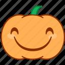 emoticon, emotion, evil, happy, laugh, pumpkin, smile