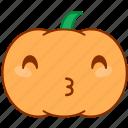 emoticon, emotion, happy, kiss, love, pumpkin, sticker