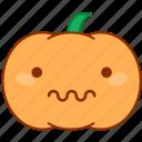 agony, emoticon, emotion, pumpkin, scared, sticker, suffer