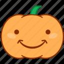 chuckle, emoticon, emotion, happy, pumpkin, smile, sticker
