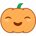 emoticon, emotion, giggle, happy, pumpkin, smile, sticker