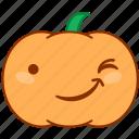 emoticon, emotion, happy, pumpkin, smile, sticker, wink