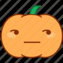 doubt, emoticon, emotion, glare, pumpkin, sticker, uncertain