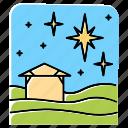 christmas, eve, holy, house, night, sky, star icon