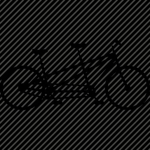 bicycle, bicycles, bike, couples bike, dual bike, tandem, tandem bike, travel icon