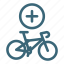 add, bicycle, bike, lifestyle, purchase, sport, summer icon