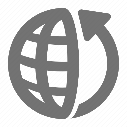 arrow, communication, global, globe, internet, turn, world icon