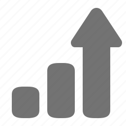 arrow, chart, column, graph, growth, increase, upward icon