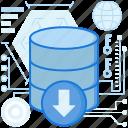 arrow, down, download, rack, server, storage, transfer