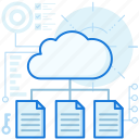 cloud, document, file, page, paper, storage, transfer