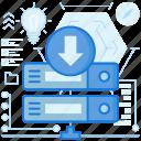 arrow, down, download, network, rack, server, transfer