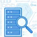 data, database, rack, scan, search, server, storage