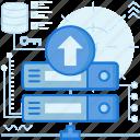 arrow, network, rack, server, transfer, up, upload