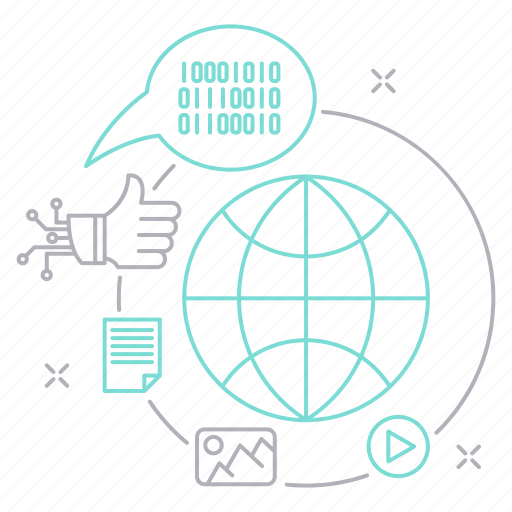 big data, database, media, social, technology icon