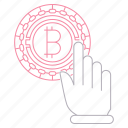 bitcoin, cryptocurrency, digital, hand, technology, touch icon