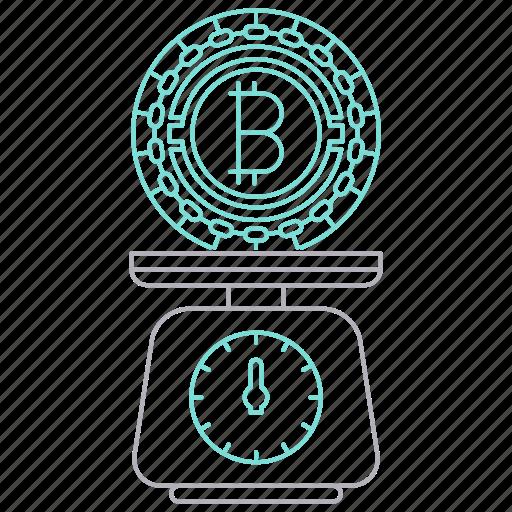 balance, bitcoin, cryptocurrency, digital, technology icon