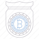 bitcoin, cryptocurrency, digital, protection, shield, technology icon