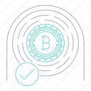 bitcoin, checked, cryptocurrency, digital, finder, technology icon