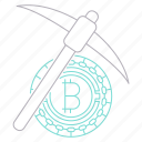 bitcoin, cryptocurrency, digital, mining, technology, tool icon