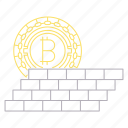 bitcoin, cryptocurrency, digital, protect, technology, wall icon