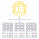 bitcoin, blockchain, cryptocurrency, digital, servers, technology icon