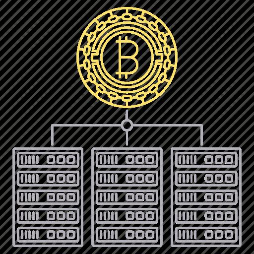bitcoin, blockchain, cryptocurrency, digital, servers, technology icon