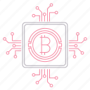 bitcoin, circuit, cryptocurrency, digital, technology icon