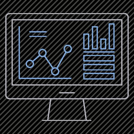 analytics, big data, database, monitor, server, technology icon