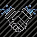 big data, database, digital, handshake, server, technology icon