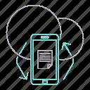 app, big data, database, mobile, server, sync, technology icon