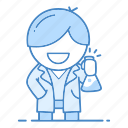 action, chemist, chemistry, education, laboratory, science, scientist icon