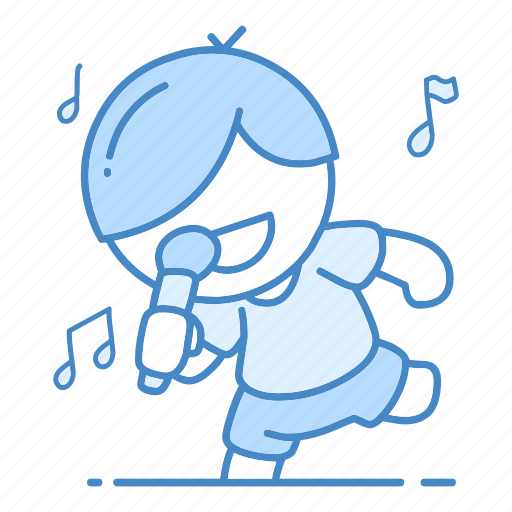 action, fun, hobby, music, note, singer, song icon