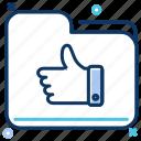 data storage, folder, like, quality, thumbs up icon