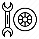 fitting, settings, spanner, tire, tyre, wheel, wrench icon