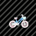 bicycle, bike, girl's bike, isolated, kid's bike, training wheels icon