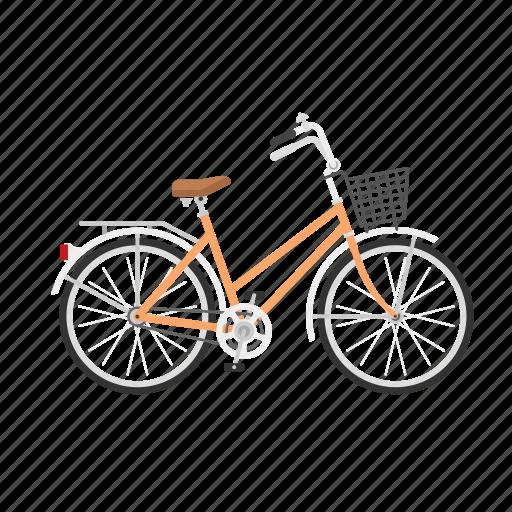 bicycle, bike, girl's bike, isolated, women's bike icon