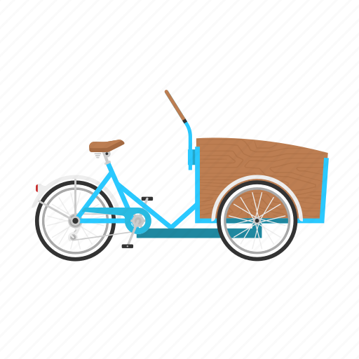 bicycle, bike, cargo bike, christiania, delivery bike, isolated icon