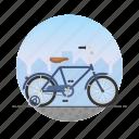 bicycle, bike, circle, kid's bike, training wheels