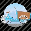 bicycle, bike, cargo bike, circle, delivery bike icon